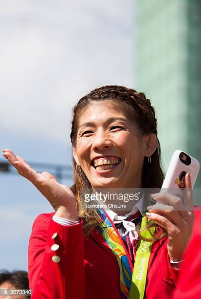 Japan's Rio de Janeiro Olympic team captain Saori Yoshida is seen during the Rio Olympics 2016 Japanese medalist parade in the ginza district on...