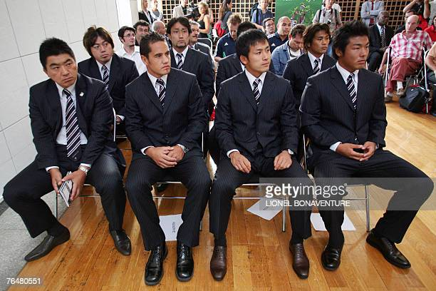 Japan's rugby national team manager Osamu Ota and players Bryce Robins, Hirotoki Onozawa, Takamichi and Takuro Miuchi, Hitoshi Ono, Shotaro Onishi...