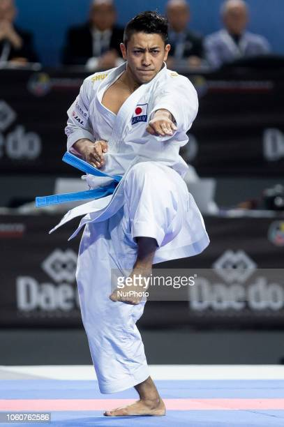 Japan's Ryo Kiyuna competes in the Kata individual male final during the 24th Karate World Championships at Wizink Center in Madrid Spain November 11...