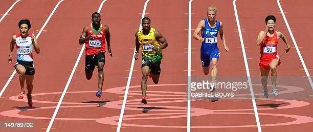 Japan's Ryota Yamagata Saint Kitts Nevis' Antoine Adams Jamaica's Johan Blake Estonia's Marek Niit and China's Su Bingtian compete in the men's 100m...