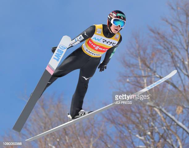 Japan's Ryoyu Kobayashi competes during the men's event at the FIS Ski Jumping World Cup in Sapporo on January 27, 2019. / Japan OUT