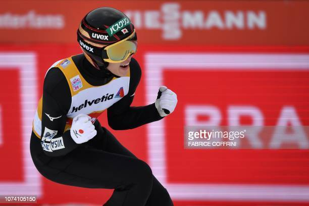 Japan's Ryoyu Kobayashi reacts after winning the men's FIS Ski Jumping World Cup competition in Engelberg, central Switzerland, on December 16, 2018....
