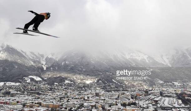 TOPSHOT Japan's Ryoyu Kobayashi soars through the air during his trainings jump at the third stage of the FourHills Ski Jumping tournament in...