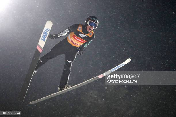 Japan's Ryoyu Kobayashi soars through the air during the fourth stage of the Four-Hills Ski Jumping tournament , in Bischofshofen, Austria, on...