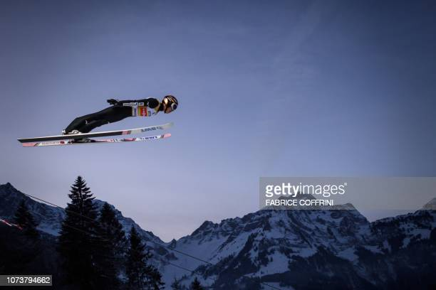 Japan's Ryoyu Kobayashi soars through the air during the men's FIS Ski Jumping World Cup competition in Engelberg central Switzerland on December 15...