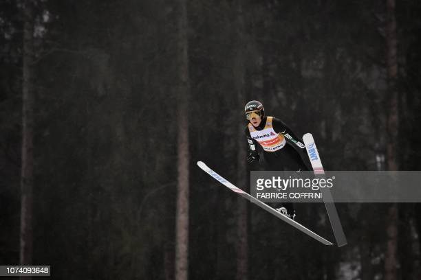 Japan's Ryoyu Kobayashi soars through the air during the men's FIS Ski Jumping World Cup competition in Engelberg central Switzerland on December 16...