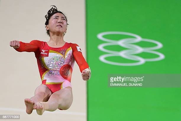 Japan's Sae Miyakawa competes in the Vault event during the women's team final Artistic Gymnastics at the Olympic Arena during the Rio 2016 Olympic...