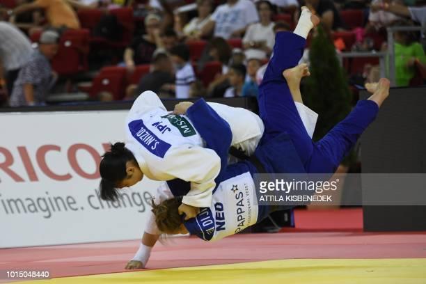 Japan's Saki Niizoe fights against Netherlands' Sanne van Dijk during the Women 70kg category final bout of the Judo World Grand Prix at Papp Laszlo...