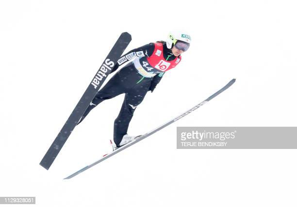 Japan's Sara Takanashi competes during the qualification jump for the Ski Jumping World Cup Womens´s HS 134 in Holmenkollen on March 9 2019 / Norway...