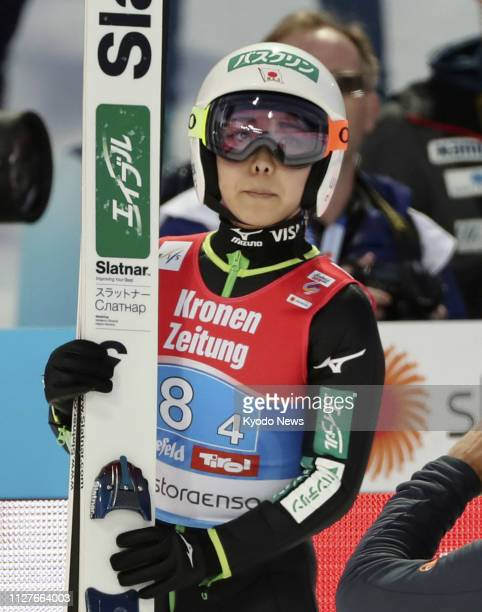 Japan's Sara Takanashi is pictured after her second jump in the inaugural women's ski jumping team event at the Nordic world ski championships in...