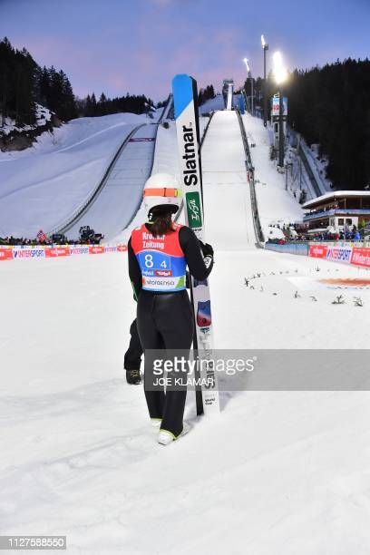 Japan's Sara Takanashi is seen after her jump during the Ladies' team ski jumping event at the FIS Nordic World Ski Championships on February 26 2019...