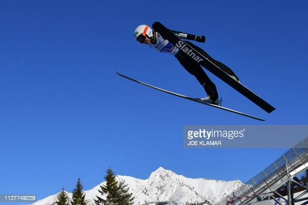 Japan's Sara Takanashi soars in the air during the Ladies' ski jumping event at the FIS Nordic World Ski Championships on February 27 2019 in Seefeld...