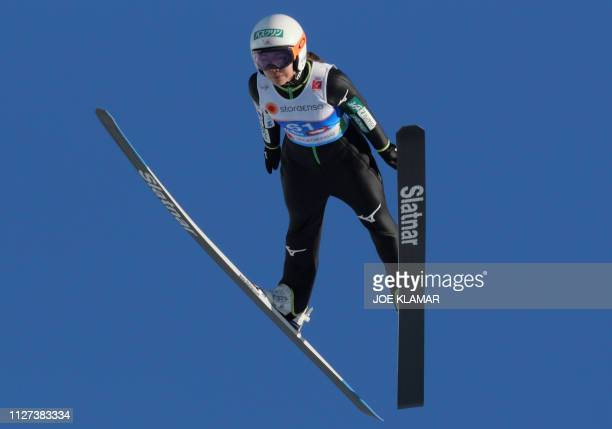 Japan's Sara Takanashi takes a practice jump during a training of the women's ski jumping Normal Hill Individual event of the FIS Nordic World Ski...