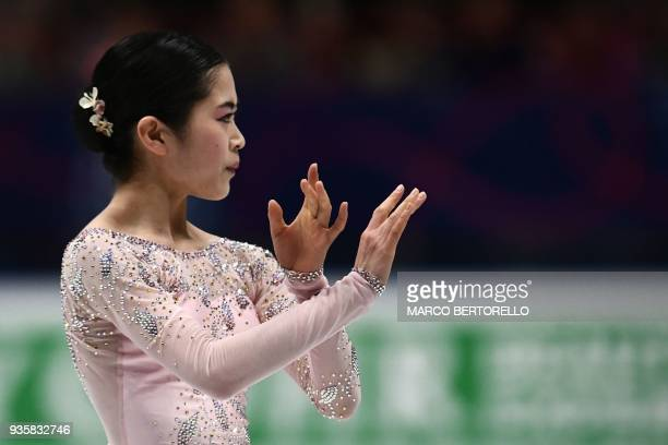 Japan's Satoko Miyahara performs on March 21 2018 in Milan during the Ladies figure skating short program at the Milano World Figure Skating...