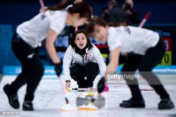 TOPSHOT Japan's Satsuki Fujisawa shouts for instructions during the curling women's semifinal game during the Pyeongchang 2018 Winter Olympic Games...