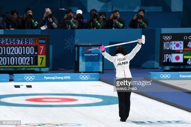 TOPSHOT Japan's Satsuki Fujisawa stretches during the curling women's semifinal game between South Korea and Japan during the Pyeongchang 2018 Winter...