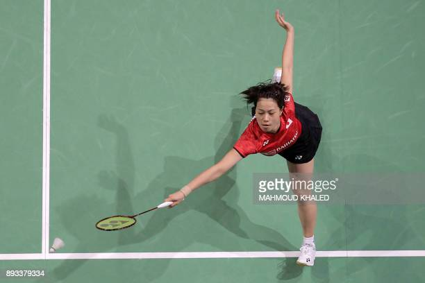 TOPSHOT Japan's Sayaka Hirota and Fukushima Yuki returns the shot to Denmark's Kamilla Rytter Juhl and Christinna Pedersen during the third day of...