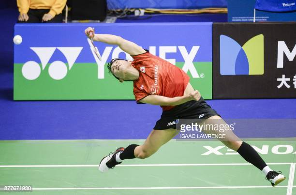 TOPSHOT Japan's Sayaka Sato hits a shot against Japan's Akane Yamaguchi during their quarterfinal women's singles match at the Hong Kong Open...