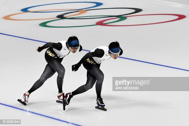 TOPSHOT Japan's Seitaro Ichinohe and Ryosuke Tsuchiya practice during a speed skating training session in the Gangneung Oval Arena during the 2018...