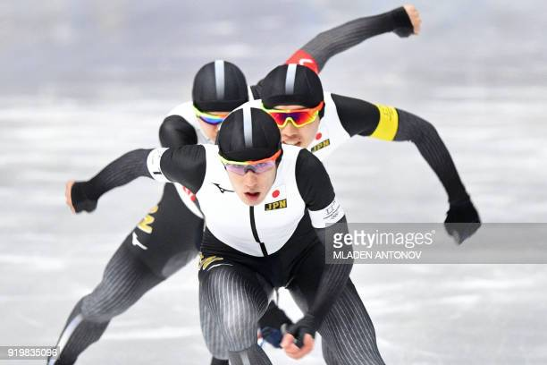TOPSHOT Japan's Shane Williamson leads his team in the men's team pursuit quarterfinal speed skating event during the Pyeongchang 2018 Winter Olympic...