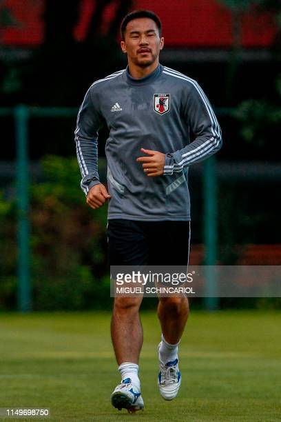 Japan's Shinji Okazaki takes part in a training session in Sao Paulo Brazil on June 13 on the eve of the start of the Copa America football tournament