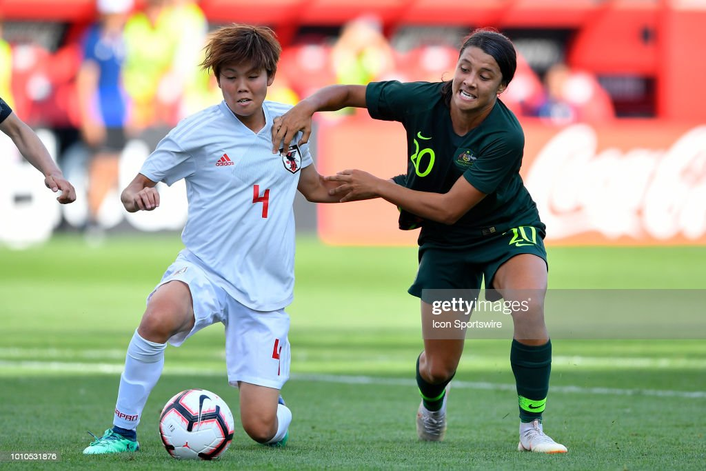 Japan's Shiori Miyake (4) and Australia's Sam Kerr (2) battle for the ball during the 2018 Tournament Of Nations between at Toyota Park on August 2, 2018 in Bridgeview, Illinois