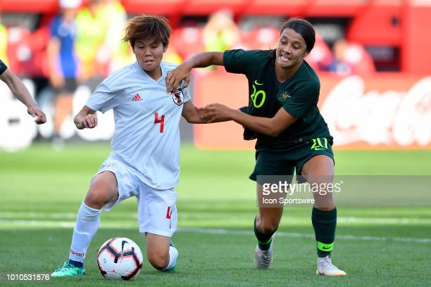Japan's Shiori Miyake and Australia's Sam Kerr battle for the ball during the 2018 Tournament Of Nations between at Toyota Park on August 2 2018 in...
