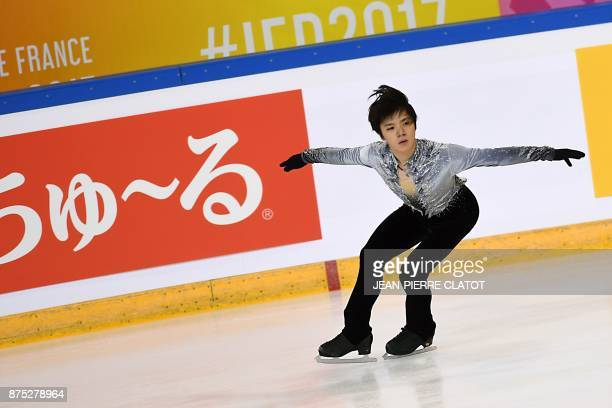 Japan's Shoma Uno trains before the ISU Grand Prix of Figure Skating in Grenoble eastern France on November 17 2017 / AFP PHOTO / JEANPIERRE CLATOT