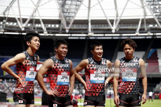 Japan's Shuhei Tada, Yuki Koike, Yoshihide Kiryu and Kiara Shiraishi gesture after the Men's 4x100m Relay event during the the IAAF Diamond League...