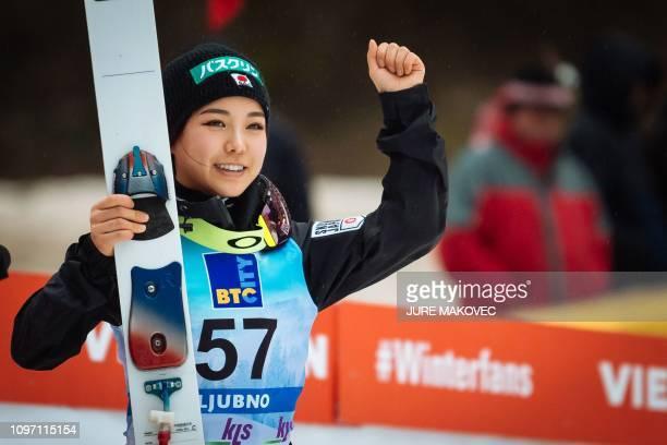 Japan's ski jumper Sara Takanashi celebrates after winning the FIS Ladies Ski Jumping World Cup Normal Hill Individual in Ljubno Slovenia on February...