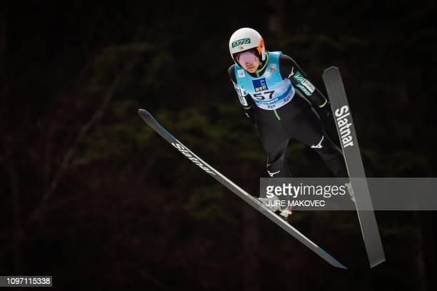 Japan's ski jumper Sara Takanashi competes during the FIS Ladies Ski Jumping World Cup Normal Hill Individual in Ljubno Slovenia on February 10 2019