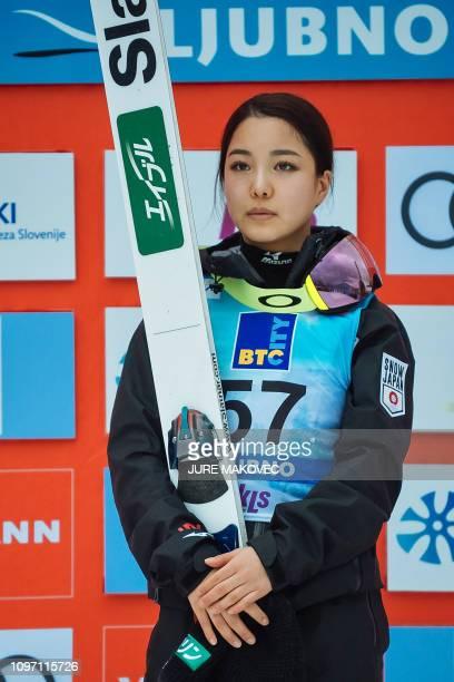 Japan's ski jumper Sara Takanashi stands on the podium after winning the FIS Ladies Ski Jumping World Cup Normal Hill Individual in Ljubno Slovenia...