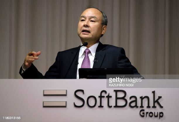 Japan's SoftBank Group CEO Masayoshi Son answers questions during a press conference on the company's financial results in Tokyo on November 6 2019...