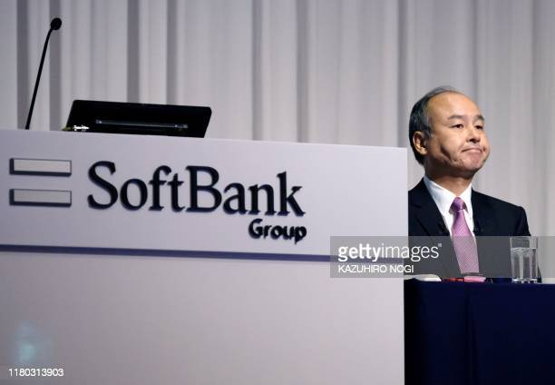 Japan's SoftBank Group CEO Masayoshi Son attends a press conference on the company's financial results in Tokyo on November 6 2019 Japanese giant...