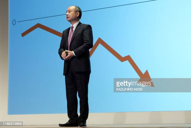 Japan's SoftBank Group CEO Masayoshi Son speaks during a press briefing on the company's financial results in Tokyo on November 6 2019 Japanese giant...