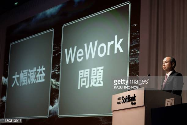 Japan's SoftBank Group CEO Masayoshi Son speaks during a press conference on the company's financial results in Tokyo on November 6 2019 Japanese...