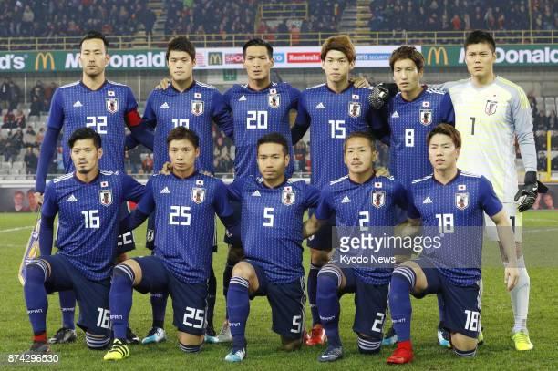 Japan's starting 11 pose for a photo before a friendly match against Belgium in Bruges Belgium on Nov 14 2017 Hotaru Yamaguchi Kazuki Nagasawa Yuto...
