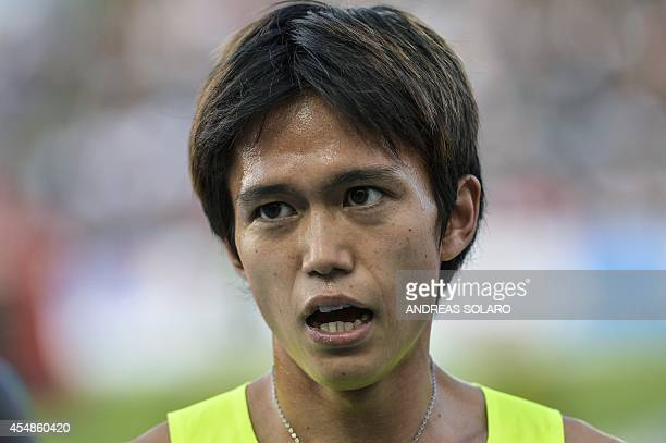 Japan's Suguru Osako reacts at the end of the men's 3000m event at the 44th IAAF Grand Prix athletics meeting at the Raul Guidobaldi Stadium in Rieti...