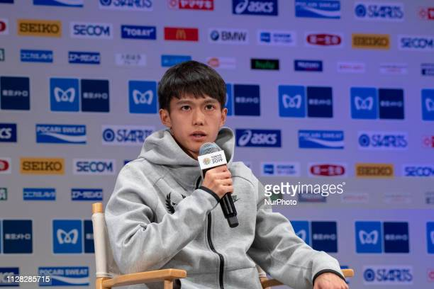 Japan's Suguru Osako speaks during a press conference ahead of the Tokyo Marathon in Tokyo on March 1 2019 The annual Tokyo Marathon will be held on...