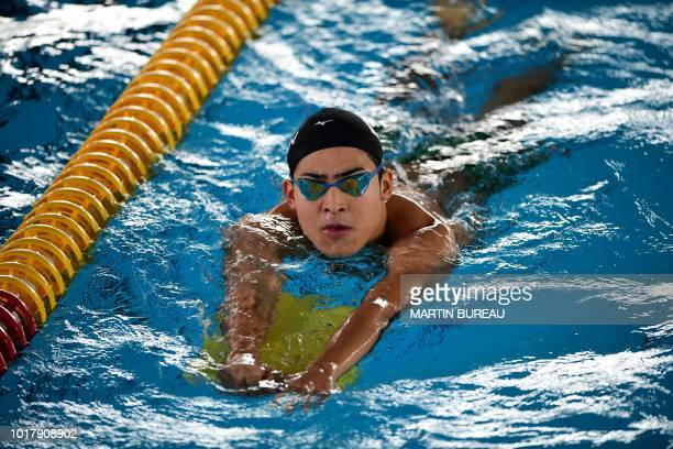 Japan's swimmer Daiya Seto attends a training session at the Aquatics center during the 2018 Asian Games in Jakarta on August 17 2018