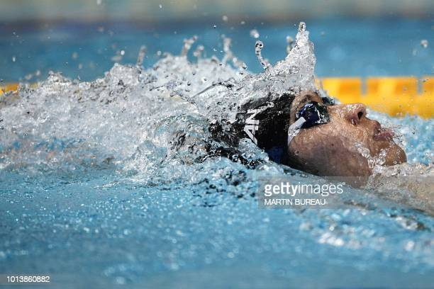 Japan's swimmer Kosuke Hagino competes during the 400m individual medley men final of the Pan Pacific Swimming Championships 2018 in Tokyo on August...