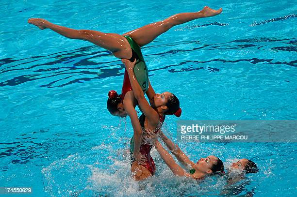 Japan's synchronised swimming team compete in the free combination final during the synchronised swimming competition in the FINA World Championships...