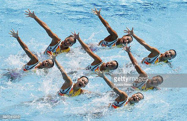 Japan's synchronized swimming team performs during the free routine final at the Rio de Janeiro Olympics on Aug 19 2016 Japan took bronze in the team...