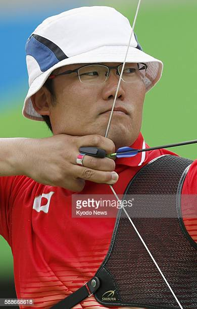 Japan's Takaharu Furukawa competes in an archery men's individual third round match against Liebana Rodriguez of Spain at the Rio de Janeiro Olympics...