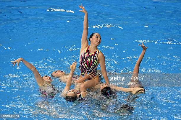 Japan's team compete in the team free routine final synchronised swimming event during the 2014 Asian Games at the Munhak Park Taehwan Aquatics...