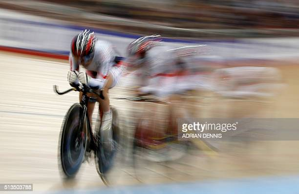 Japan's team compete in the Women's Team Pursuit qualification during the 2016 Track Cycling World Championships at the Lee Valley VeloPark in London...