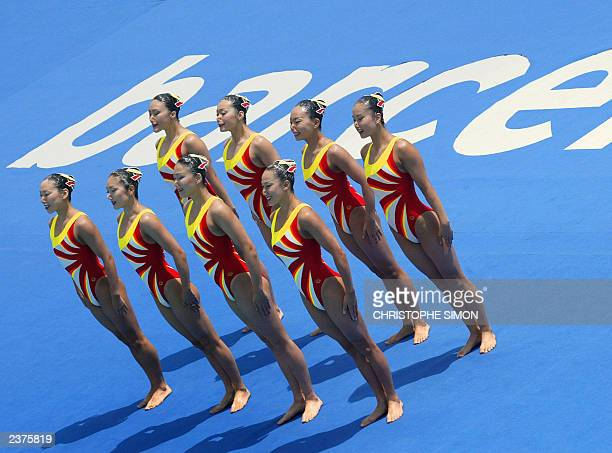 Japan's team performs during the synchronised swimming preliminary at the 10th FINA World Swimming Championships in Barcelona 14 July 2003 Miho...