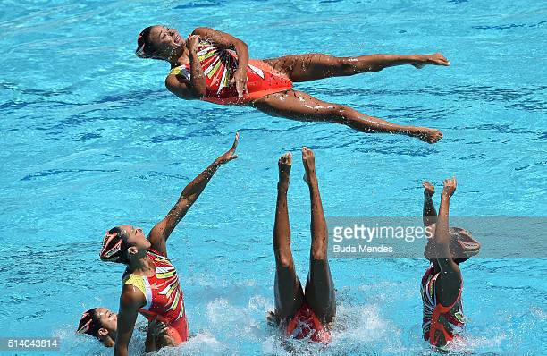 Japan's team performs their Free Routine during the FINA Olympic Games Synchronised Swimming Qualification Tournament Aquece Rio Test Event for the...
