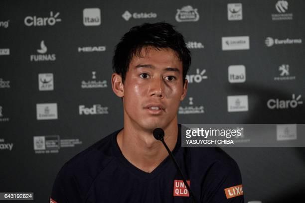 Japan's tennis player Kei Nishikori attends a press conference before ATP World Tour 500 Rio Open in Rio de Janeiro Brazil on February 20 2017...