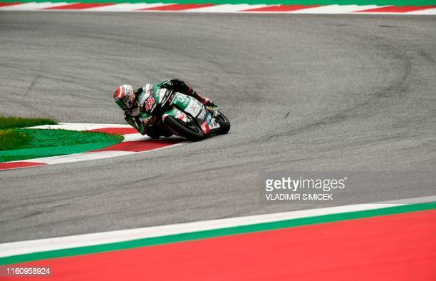 Japan's Tetsuta Nagashima from ONEXOX TKKR SAG Team rides his motorbike during the Moto2 race organised during the Austrian Moto GP Grand Prix in...